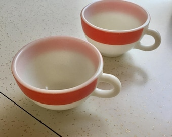 Vintage white and pink coffee cups