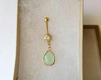 Mint belly button ring. Gold belly ring.