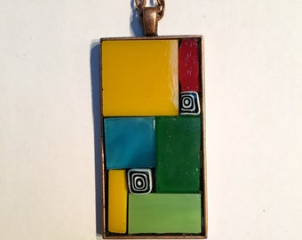 Stained-glass mosaic abstract geometric rectangular pendant