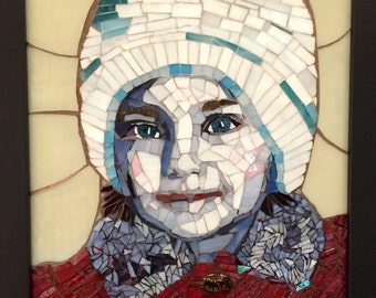 Portrait of girl in stained glass