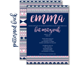 Custom Aztec Print Bat Mitzvah Invitation (FREE SHIPPING)