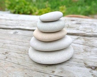 Stacking Stones, 5pcs, Smooth Beach Stones, Zen Stones, Beach Decor, Greek Pebbles, Beach Pebbles, Flat Beach Stones, Flat Pebbles