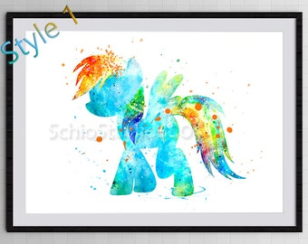 My Little Pony Watercolor Art Print - Rainbow Dash Watercolor Print - Nursery Room Decor Birthday Gift