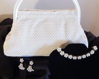Vintage LUMARED White Beaded Handbag with Ensemble White Bead Necklace Earrings & Bracelet