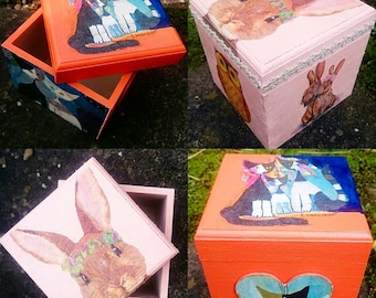 Wooden keepsake box,wooden box, decoupage box, home decor, hand decorated box, hand painted box *MADE TO ORDER *