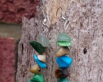 earrings, handmade earrings, gemstone earrings, dangle earrings,  cluster earrings, small gift, gift for Friend