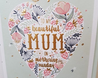 Heart Mother's Day embossed card, To my beautiful MUM on Mothering Sunday, Sweet little bird floral Mothers day greeting card