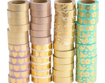 Metallic pastel washi tapes by Artebene, mixed metallic hearts spots butterflies washi tapes for crafting, washi tapes, washi tape crafting