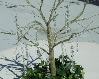 Manzanita Tree Branch Crystals, 10 pc, Hanging Lead Crystal Garland Strands, Wishing Tree Decoration Wedding Centerpiece