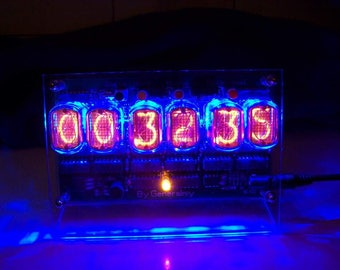 Soviet  IN 12 Nixie Tube Desk Clock. Hand Made. 6 Digit. 24 hr Mode Table Clock. 110V or 220V