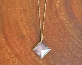 Pyramid Necklace // Rose Quartz Pyramid Necklace // Crystal Pyramid Necklace // Large Pyramid Necklace