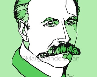 Edward Elgar : handmade ink portrait A4 giclee print of the great British Composer. What a magnificent moustache! Music wall art gift idea