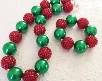 Red and Green Christmas Necklace, Christmas Bubblegum Necklace, Toddler Christmas Sparkle Necklace, Baby Holiday Necklace and Bracelet