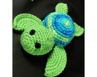 Crochet turtle stuffed animal, amigurumi, sea turtle