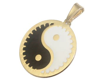 Ying Yang Round Pendant 18k Gold Plated  with 20 inch Chain - Ying Yang Necklace