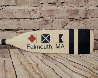 Oars Painted Wood - Sailing Signal Flags - Crew Team - Nautical Decor - Custom Painted Choice of Colors and Patterns - Personalize