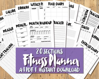 Printable A4 Fitness Planner - 20 SECTIONS - Quirky Black & White - Diet, Exercise Weight Loss Tracker Health Fitness Journal - PDF Download