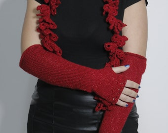 Christmas gift, Crochet scarf, knit mittens, fingerless gloves, crochet lace scarf, crochet red scarf, infinity red scarf, gift for her