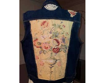 Plus Size Festival Clothing Boho Gypsy Vest Upcycled Jean Jacket Vest Denim Vest Romantic Clothing 20 or 2X