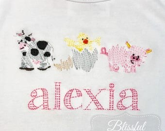 Personalized Baby Girl Gown-Baby Girl Clothes-Baby Girl Gown-Baby Shower Gift-Monogrammed Baby Girl Gift-Farm Animals