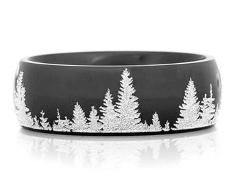 Men's Black Tree Line Wedding Ring
