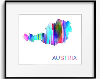 Austria Watercolor Map Art Print (522) Europe