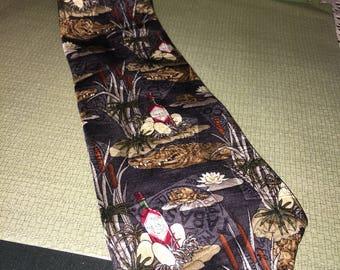 Alligator and Tabasco Tie; Louisiana Swamp Gator and Tabasco Hot Sauce Necktie; Alligator Eggs and Tobasco