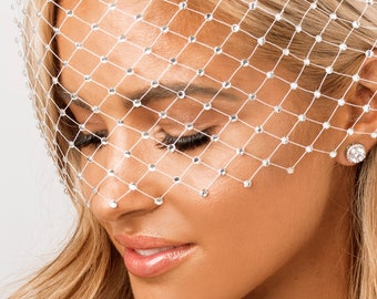 Crystal Headpiece, Birdcage Veil, Bridal Veil, White, Ivory, Crystal, Wedding Veil