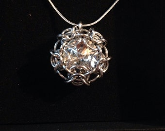 Swarovski crystal chainmaille pendant with silver chain