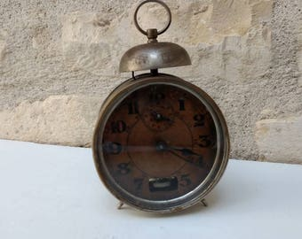 Very Shabby chic Bayard antique alarm clock with single bell  on top, tea stained face, industrial circa 1930s.