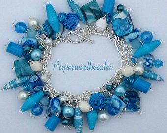 Paper Bead Charm Bracelet, Teal and White Charm Bracelet, Chunky Char Bracelet, Paper Jewelry, Up Cycled Jewelry, Cha Cha Bracelet