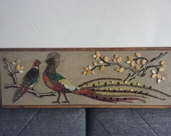 Mid Century Pebble Art Pheasant Bird Wall Art 36 x 12 1/2