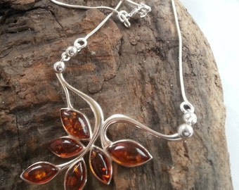 Sterling Silver Baltic Amber Flower Necklace