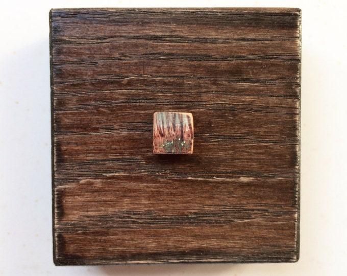 Edge / tiny original pyrography + painting art piece / river's edge art / tiny winter landscape art / wood art