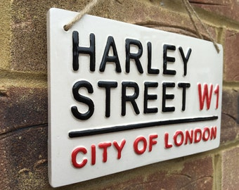 HARLEY STREET-City of London-London Street Signs-Plastic Surgery-Botox-Presents for her-Beauty Gifts-Streets of London-Cosmetic Surgery