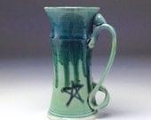 HUGE Beer Stein/ handmade giant coffee mug/ dark blue green/ big 32 oz large tall cup/ runny drip glaze/ porcelain pottery by Gabriel Kline