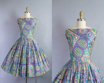 1950s novelty print dress/ 50s tribal print cotton sundress/ medium