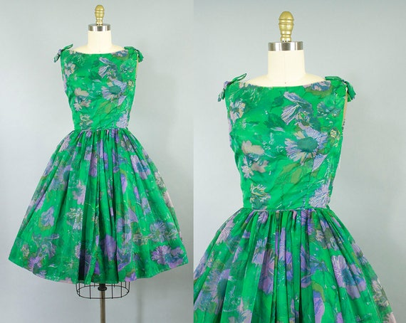 1950s chiffon party dress/ 50s green floral dress/ small