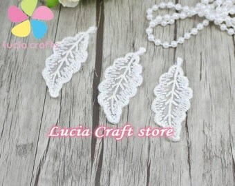 10 White Leaf Lace Patch Adhesive Clothing Patch Applique Embroidery