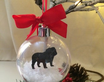 British Bulldog Silhouette in the Snow Pet Bauble