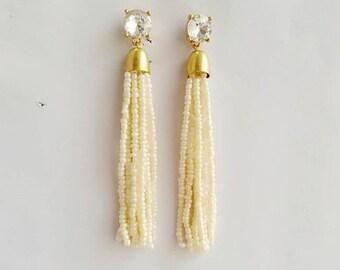 Beaded tassel Earrings Creamy White Beads Clear Crystal Stud