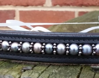 Black pearl browband with gunmetal spacers dressage hunter horse