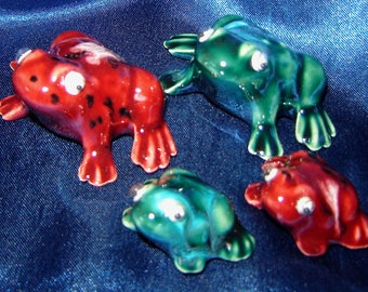Set of Miniature Frogs Glazed - Group 1 - Miniature Animals - Ceramic Miniatures - Ceramic Frogs - Glazed Frogs