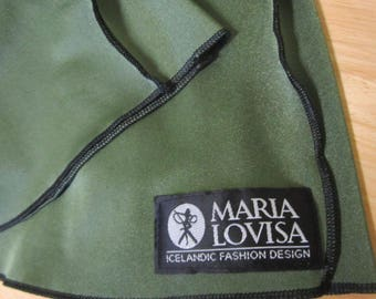 Maria Lovisa Icelandic Fashion Designer Long Sleeve Stretch Dress Green Black Orange S-M