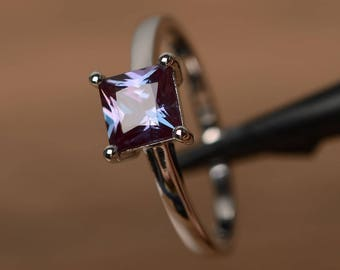 lab alexandrite ring sterling silver solitaire rings princess cut engagement ring
