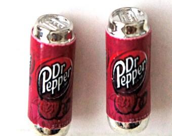 dr pepper soda can earrings - miniature food jewelry, food earrings