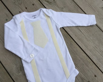 Baby Boy Onesie - Cream Tie and suspenders applique on Carter's brand long-sleeved onesie; perfect for baby christening/baptism/dedication