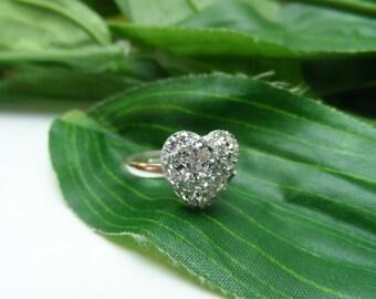 Childs Bling Heart ring, kids rings, adjustable rings, girls birthday gifts, girls rings, little girls rings,