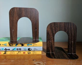 Pair of Wood Grain Mismatched Industrial Metal Book Ends, Metal, 5-5 3/8 Inches Tall, Library Book Holders, Office Organization