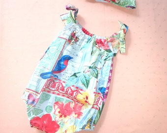 Baby Gift Beautiful handmade baby romper with matching headband size 00